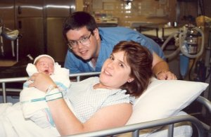 Skip and I in the delivery room with Kristen